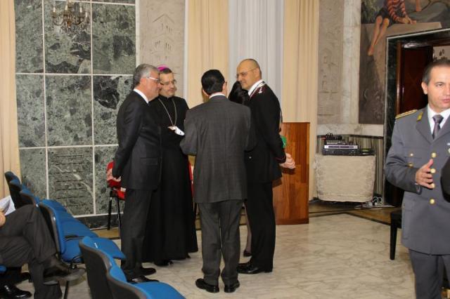 il Prefetto Paolino Maddaloni, l'Abate Dom Pietro Vittorelli, il Colonnello Antonio Menga, il Direttore Francesco Marino